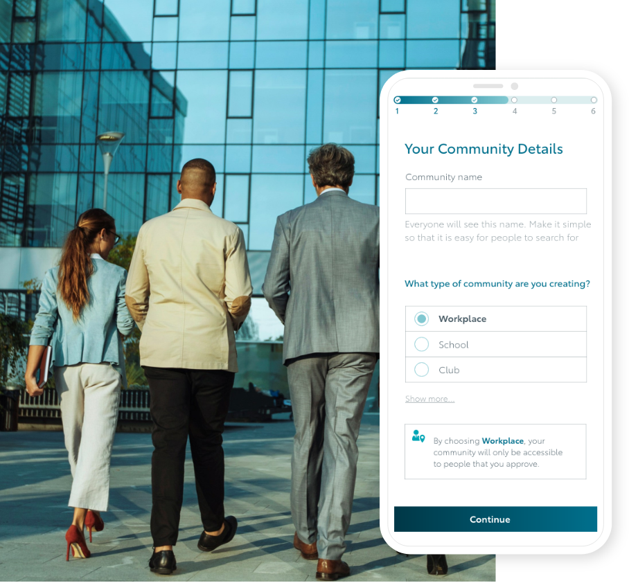 'Your corporate commuting community' screen from KINTO Join, combined with an image of coworkers entering an office building.