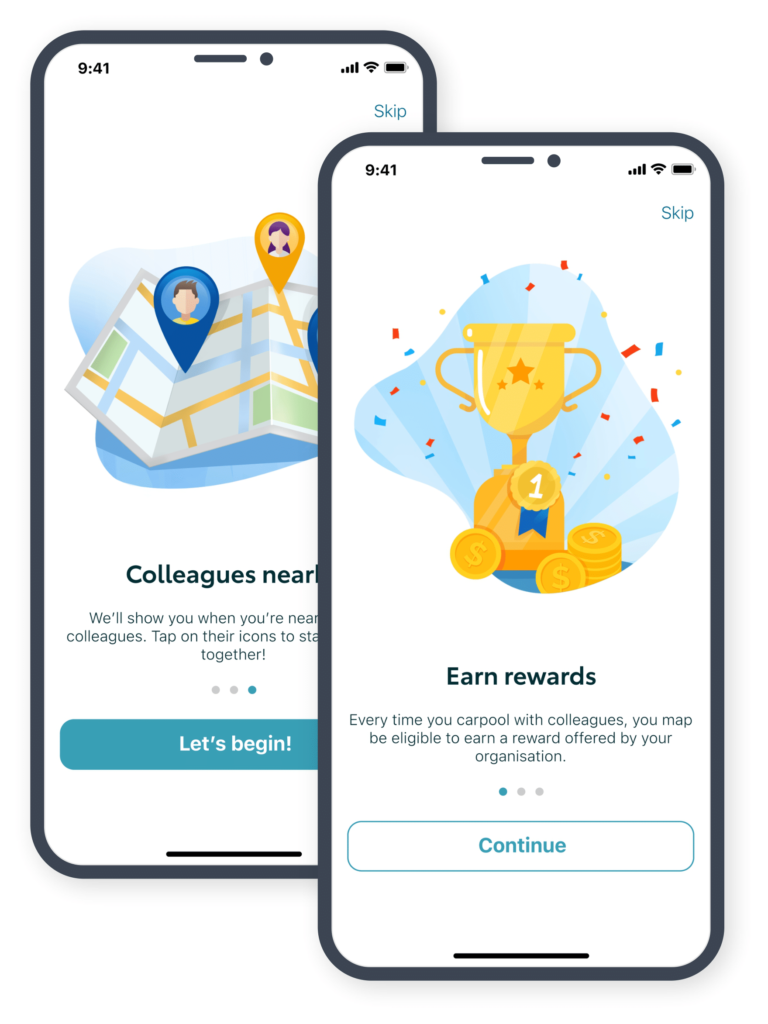 'Colleagues nearby' and 'Earn rewards' screens from the KINTO Join carpooling platform.
