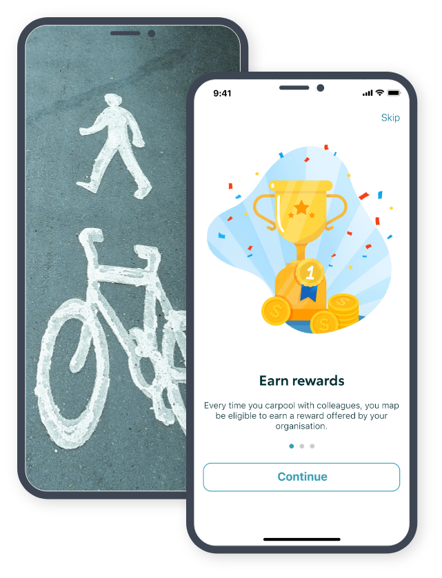 A mobile screen showing a walking & cycling path combined with the 'Earn rewards for green travel' screen from the KINTO Join