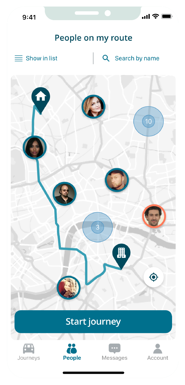 A screenshot from the KINTO Join carpooling app showing 'People on my route' screen.