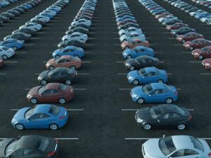An image of a full parking lot. It is used in the 'Access control as a carpooling incentive' KINTO Join blog post